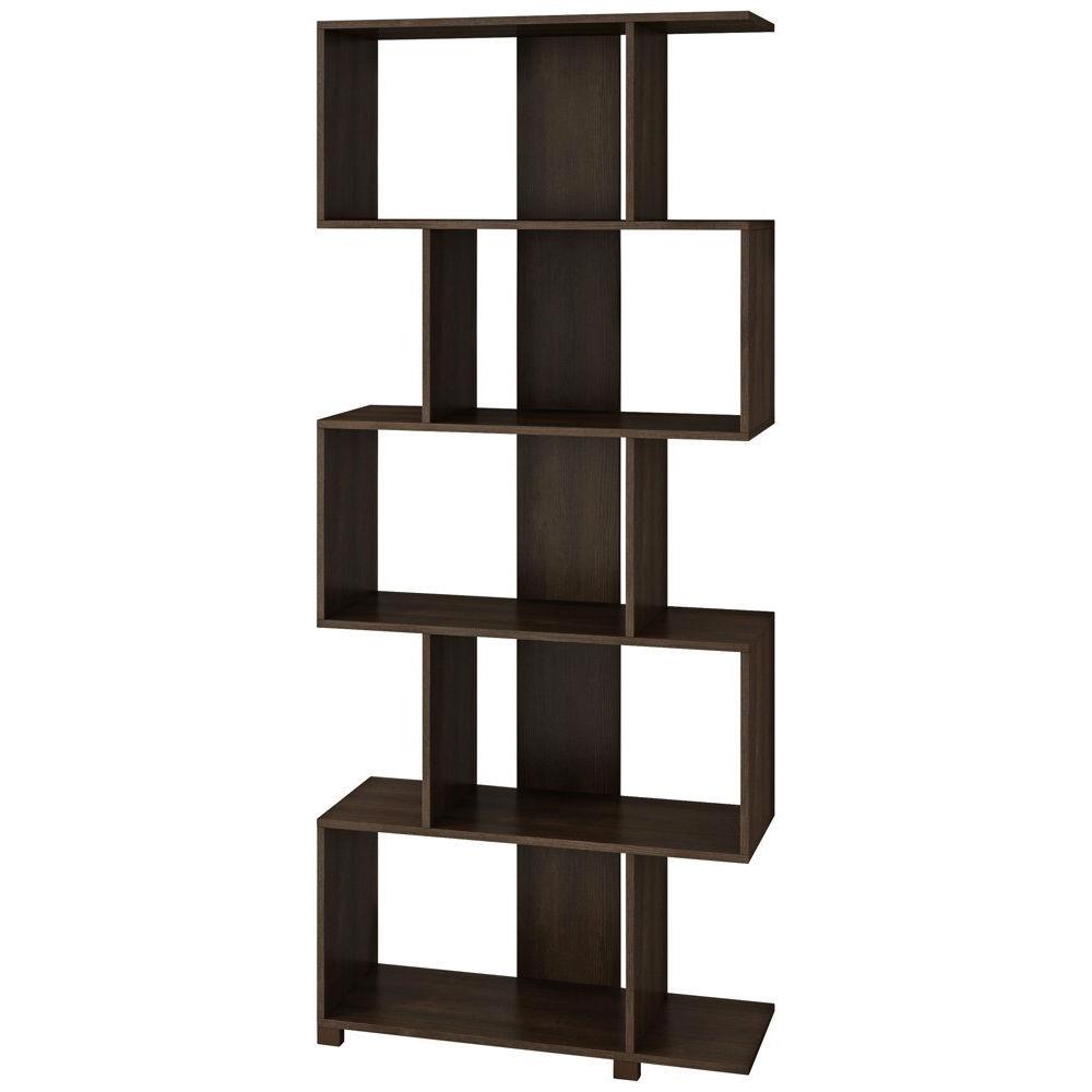 zag pin modern display zigzag baxton brown shelf finish bookcase studio zig by