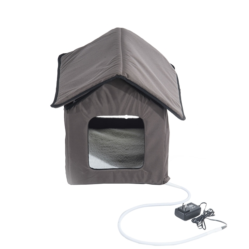 Heated Outdoor Cat House Bed House Brown