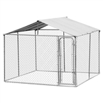 10 x 10 x 6-ft Large Chain Link Outdoor Dog Play House with Cover
