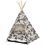 Cotton Foldable Teepee Tent Cat Dog Bed House Paris Theme