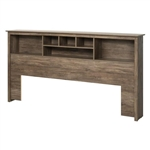 King size Bookcase Headboard in Drifted Gray Finish