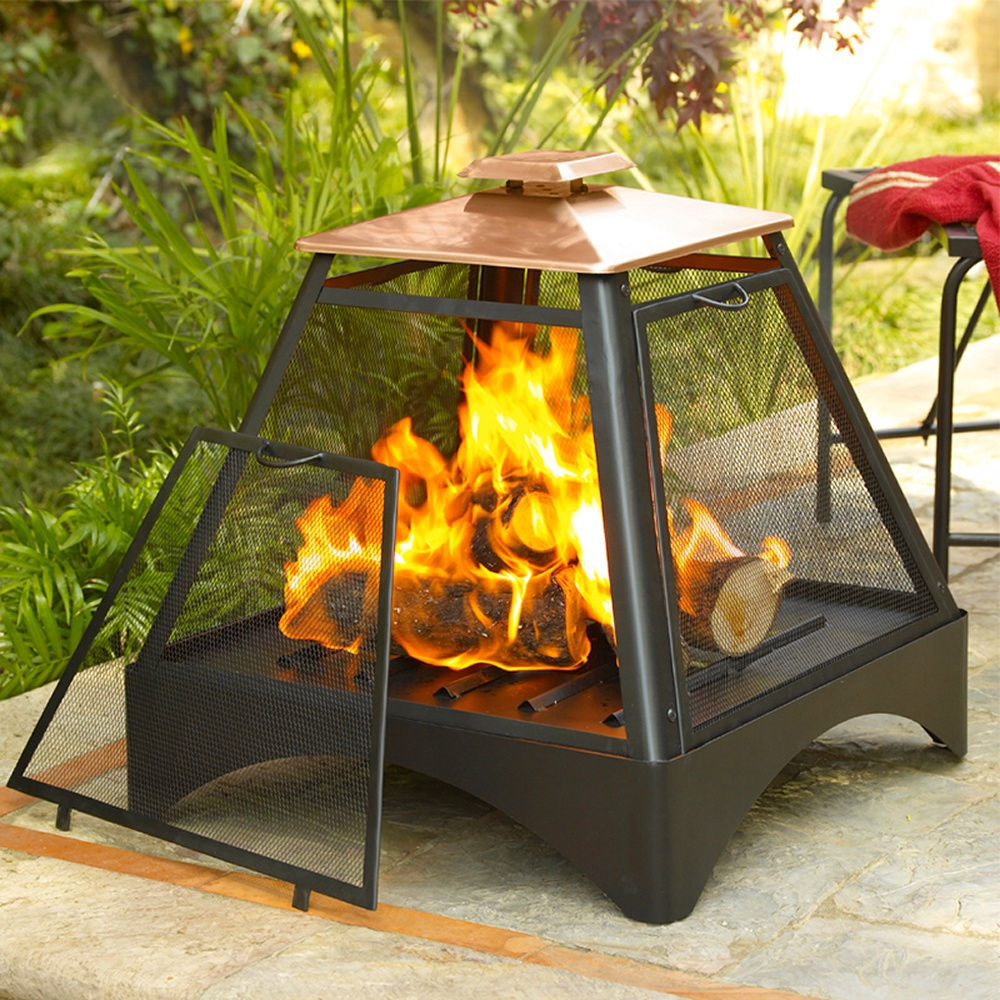 Outdoor Flood Light Burns Out Quickly: Outdoor Pagoda Pyramid Fire Pit Fireplace With Copper Roof