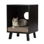 Sturdy Modern Cat Espresso End Table Cat Bed Cube Lounge