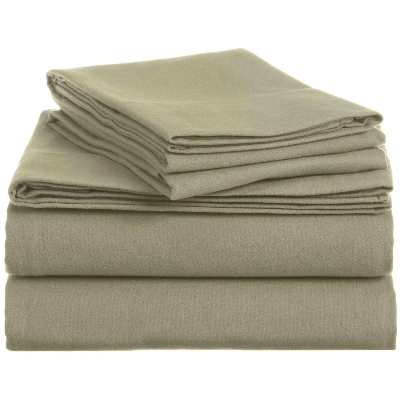 queen 100percent cotton velvet flannel sheet set in thyme green - Flannel Sheets Queen