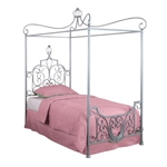 Twin size Princess Style Wrought Iron Metal Canopy Bed