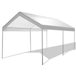 10 x 20 Ft Outdoor Steel Frame Gazebo Tent Car Canopy with White Poly Top