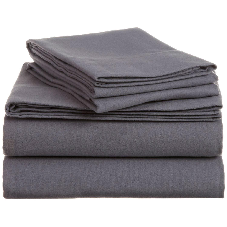 Queen Size 100 Percent Cotton Velvet Flannel Sheet Set In Graphite