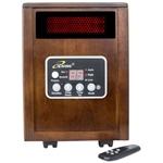 带遥控器的红外空间加热器,带深色胡桃木柜