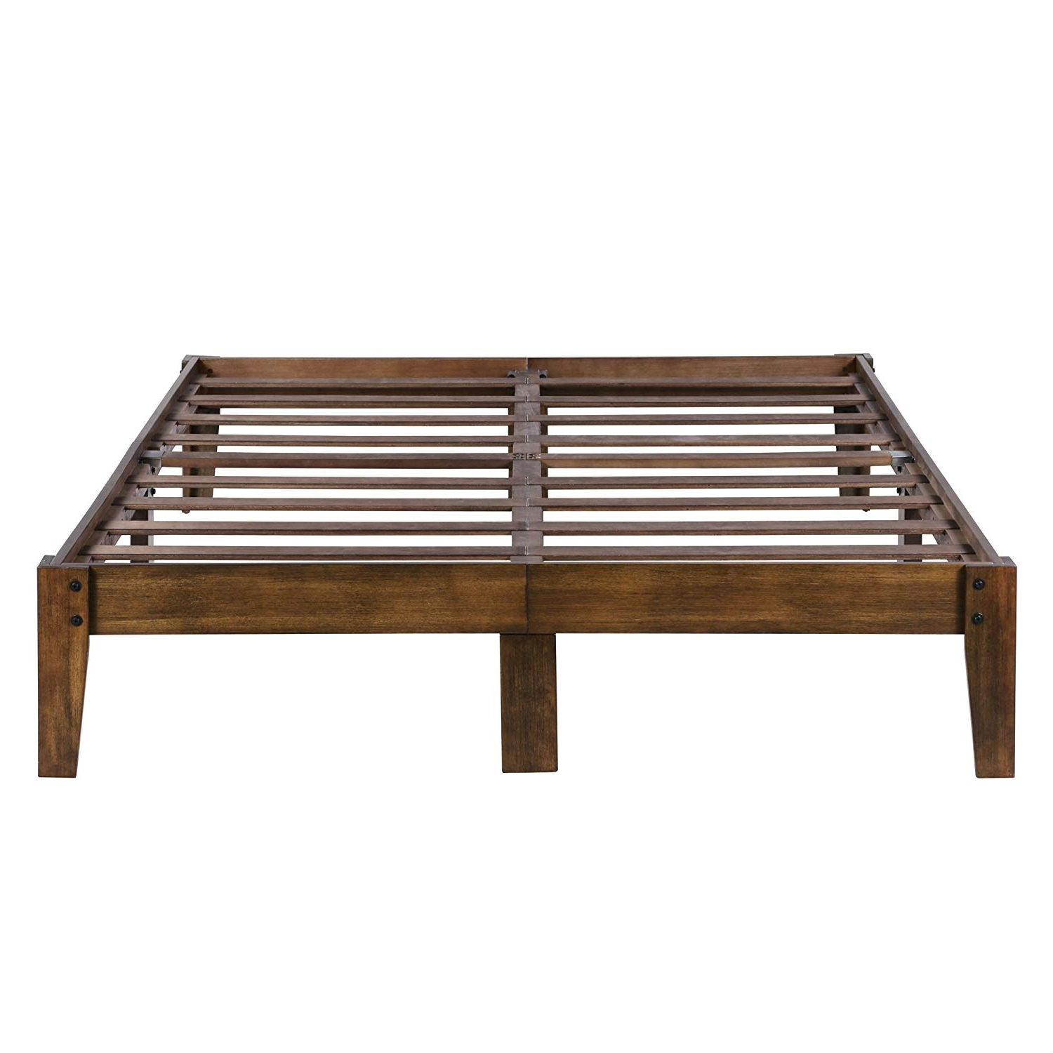 Picture of: Full Size Solid Wood Platform Bed Frame In Brown Natural Finish Fastfurnishings Com
