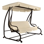 Outdoor 3-Seat Canopy Swing with Beige Cushions for Patio Deck or Porch