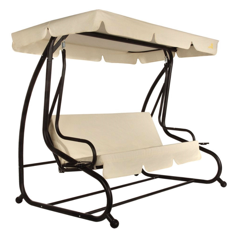 Outdoor 3 Seat Canopy Swing With Beige Cushions For Patio Deck Or Porch Fastfurnishings