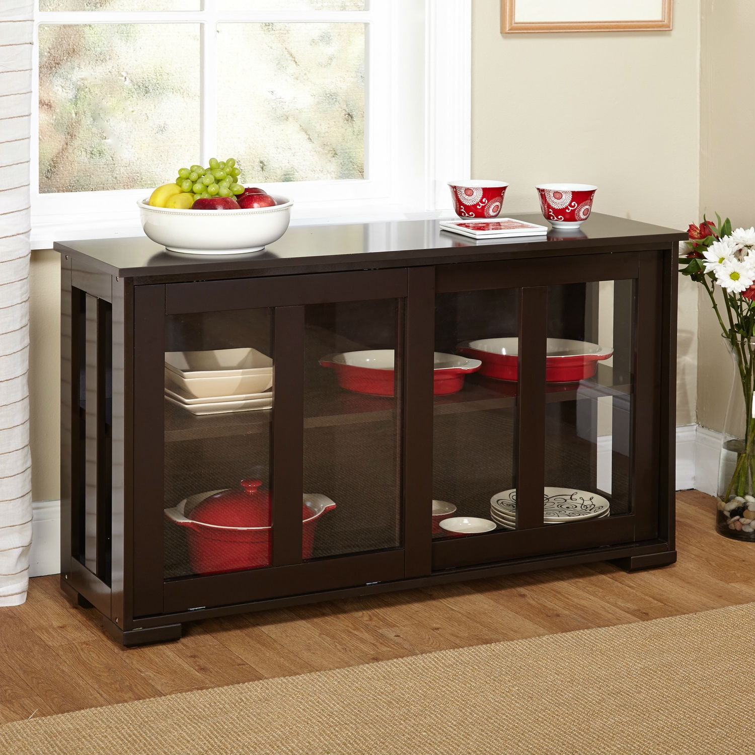 Espresso Sideboard Buffet Dining Kitchen Cabinet With 2 Gl Sliding Doors