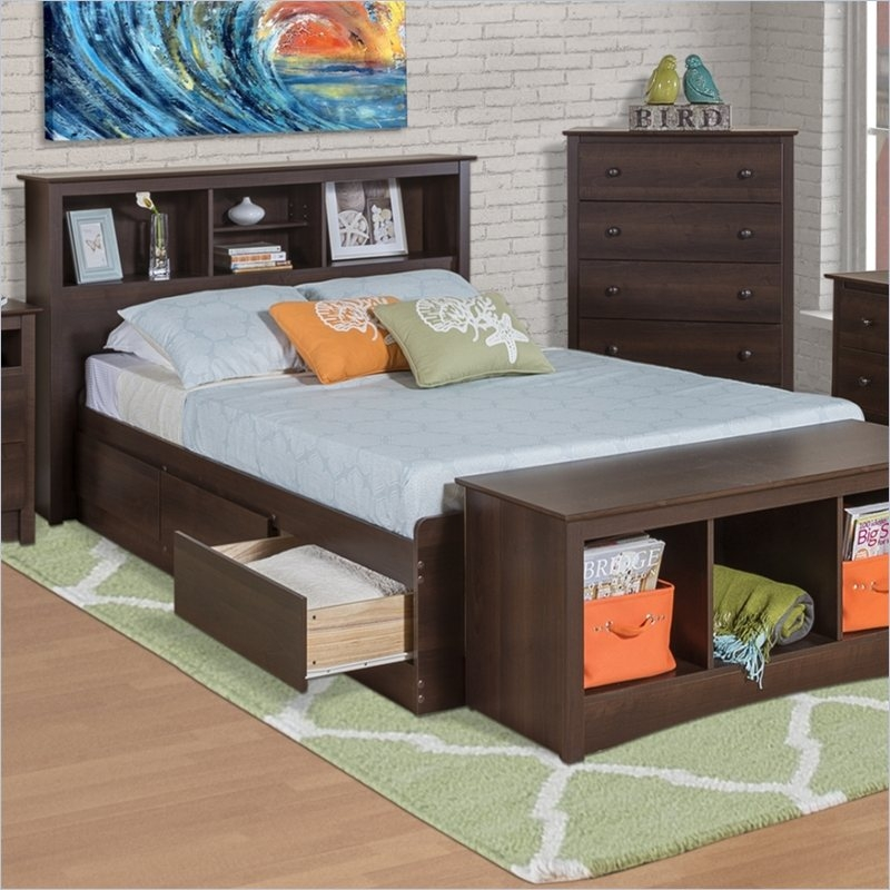 Twin Xl Espresso Brown Platform Bed W Headboard And Storage Drawers