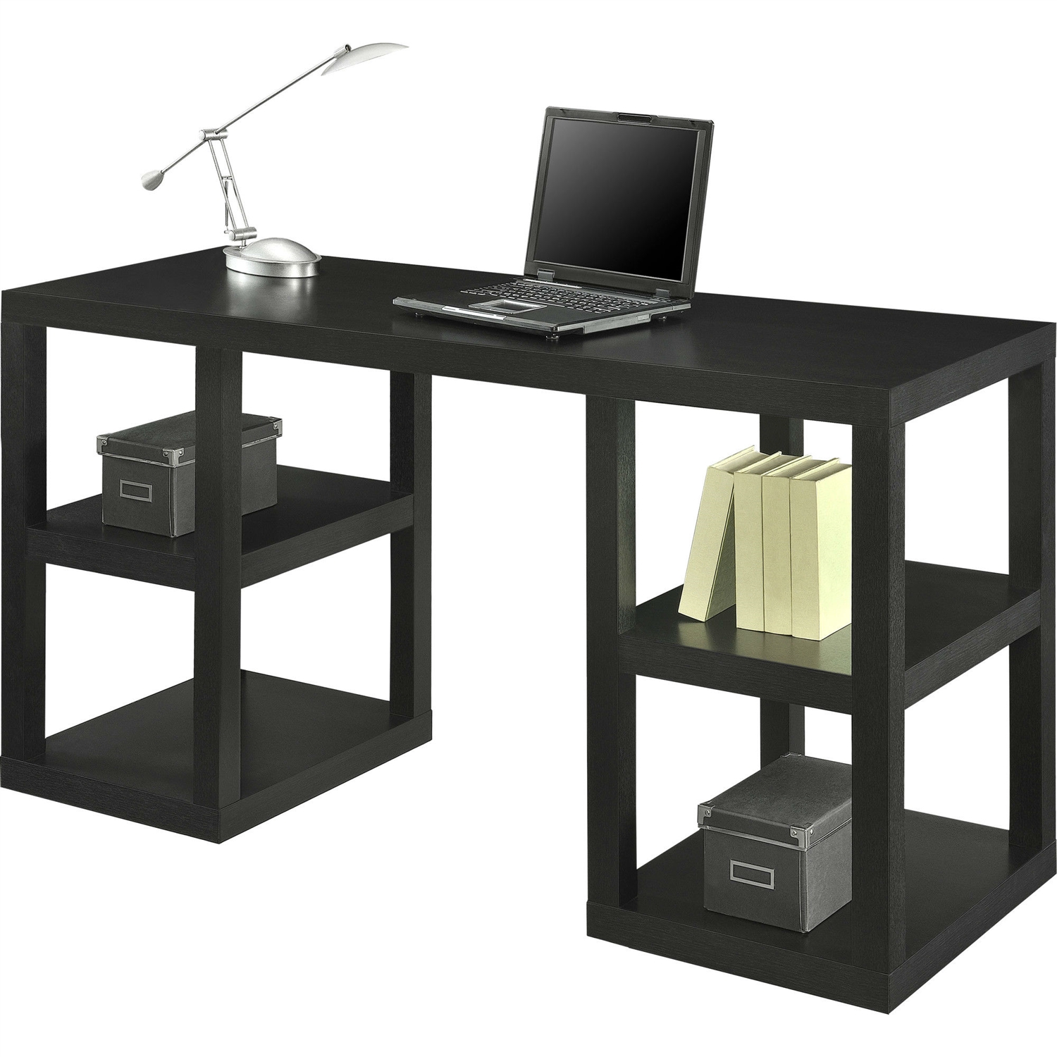 Modern Home Office Computer Desk In Black Oak Wood Finish Fastfurnishings