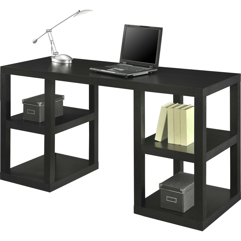 Modern Home Office Computer Desk In Black Oak Wood Finish