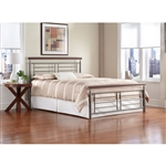 King size Contemporary Metal Bed in Silver / Cherry Finish