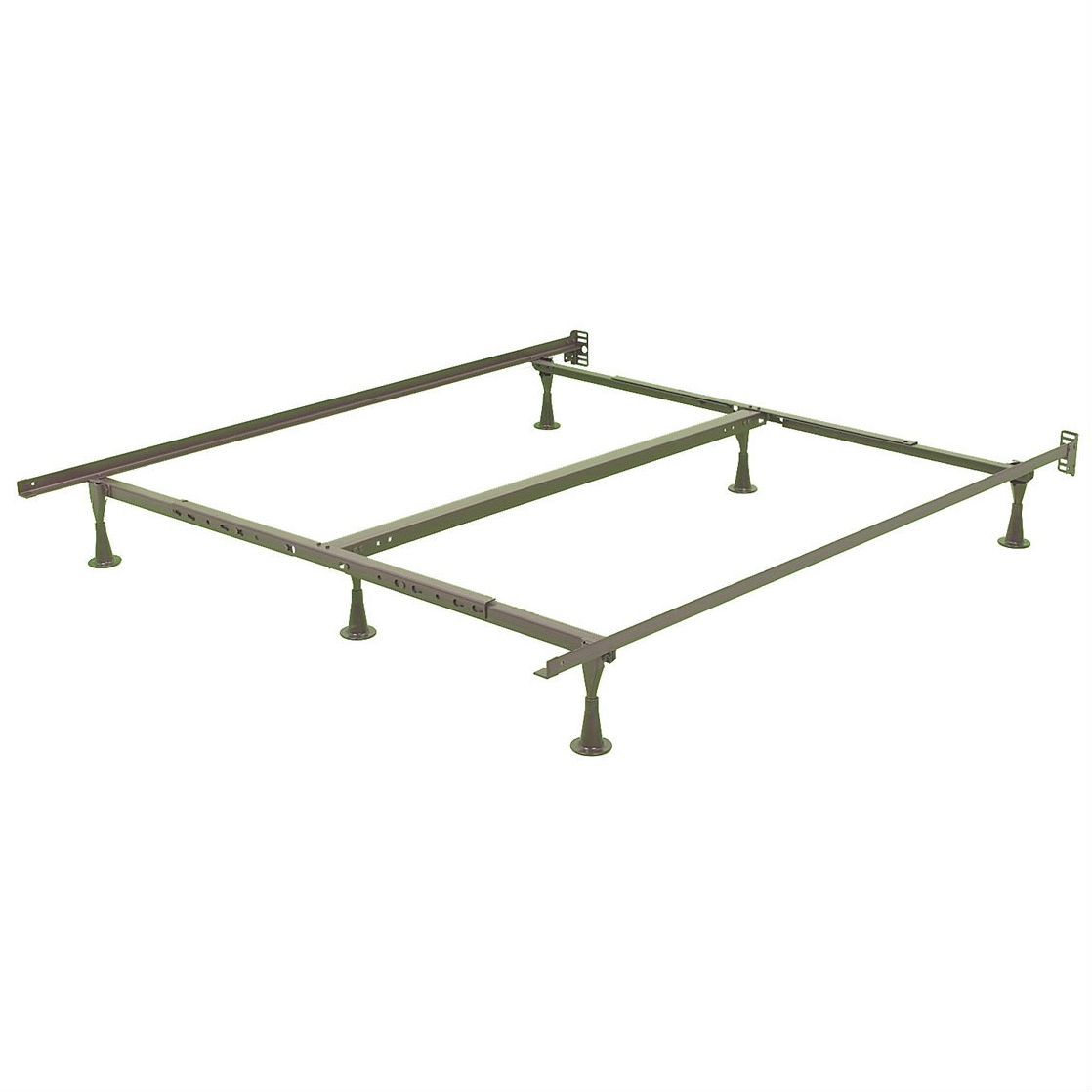Queen Size Sturdy Metal Bed Frame With 6 Glide Legs And Headboard