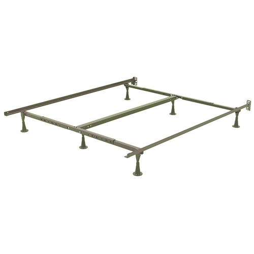 Queen size Sturdy Metal Bed Frame with 6 Glide Legs and Headboard Brackets