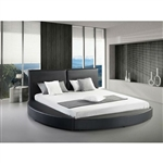 Queen size Modern Round Platform Bed with Headboard in White Leather