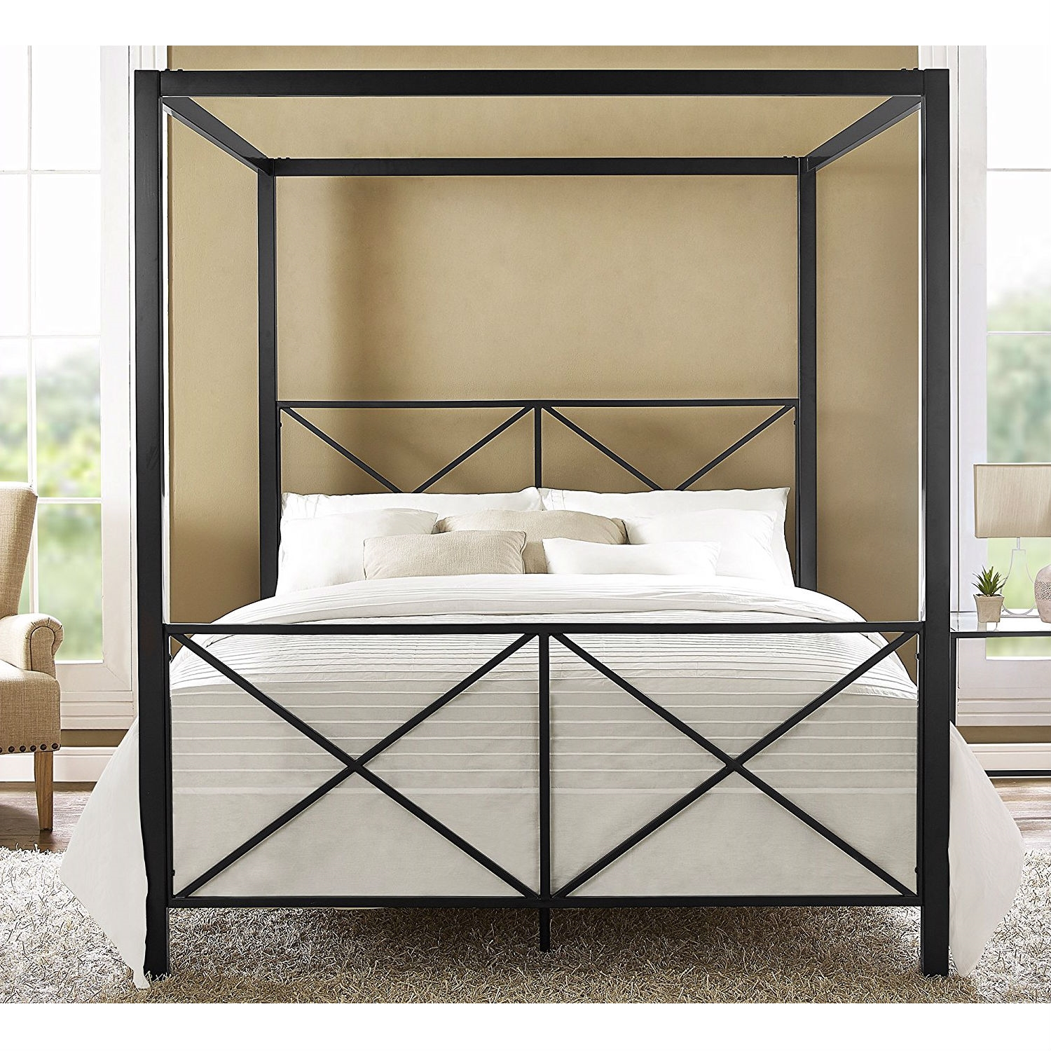 Queen Size 4 Post Metal Canopy Bed Frame In Black