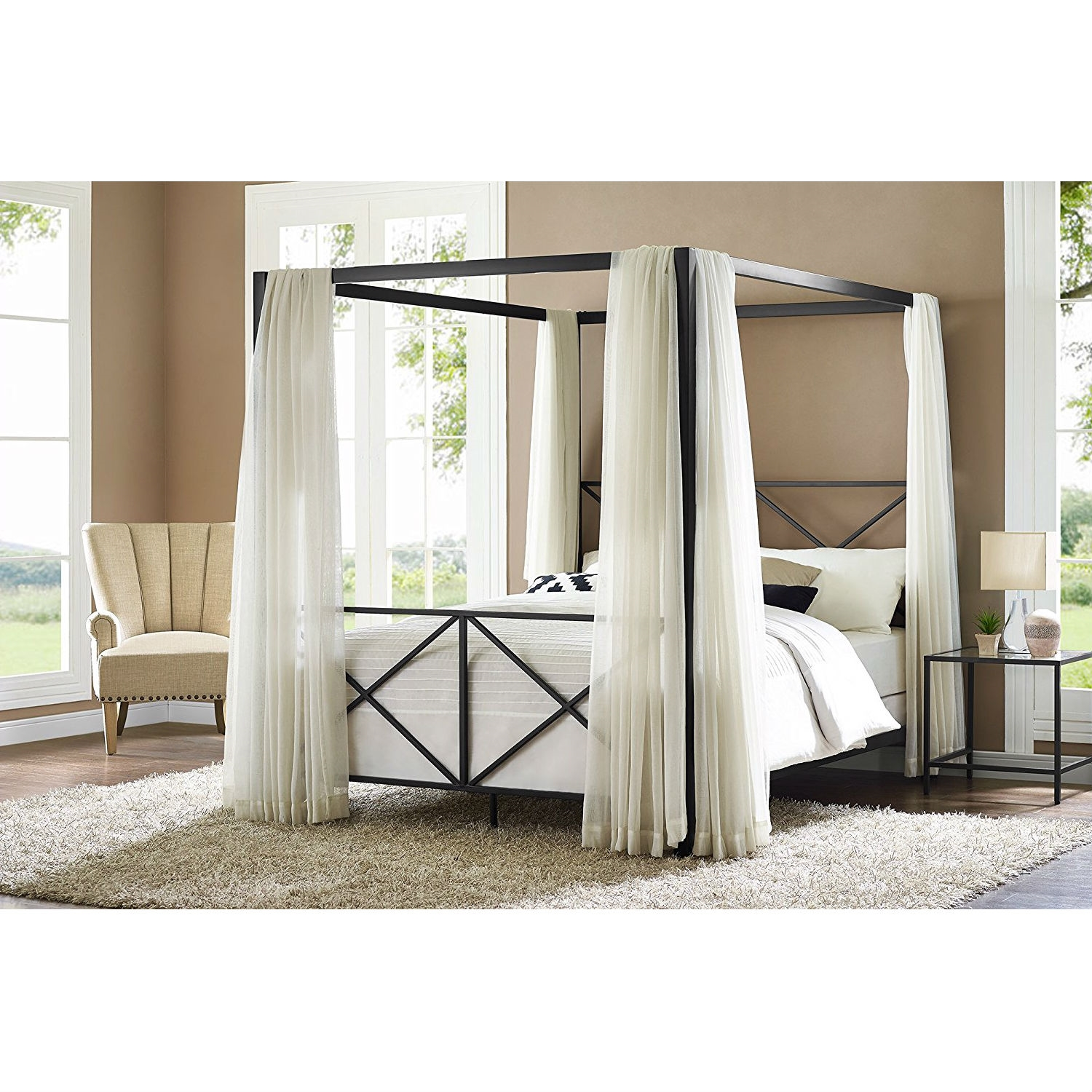 Queen size 4-Post Metal Canopy Bed Frame in Black   FastFurnishings.com