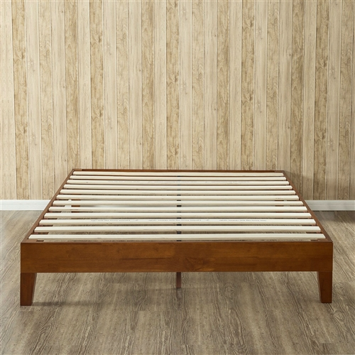 Queen Size Solid Wood Low Profile Platform Bed Frame In