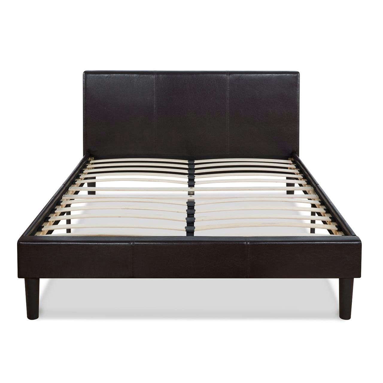 Queen Size Modern Platform Bed With Dark Brown Upholstered Faux Leather Headboard