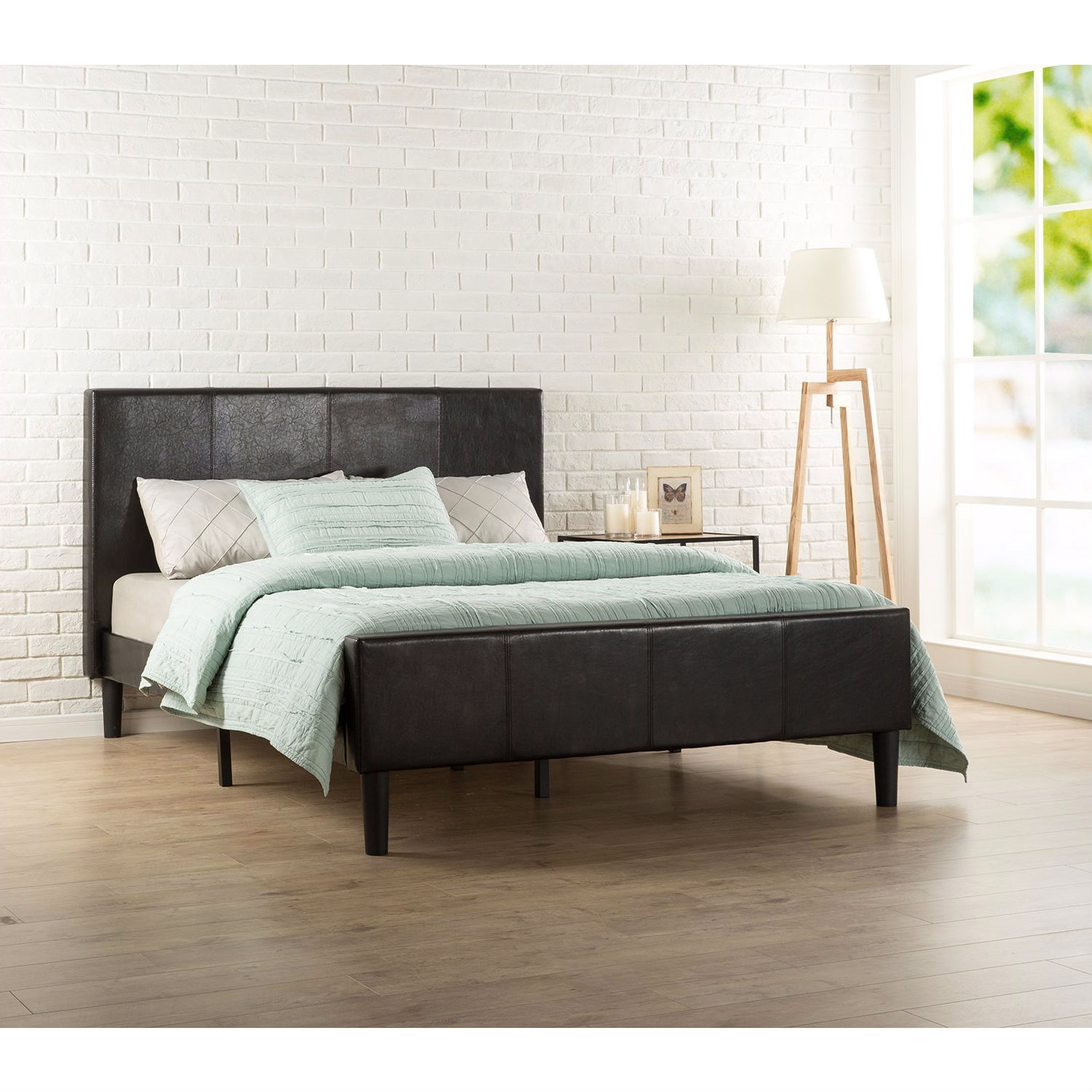 6a4616754c9a Queen size Espresso Faux Leather Platform Bed with Upholstered ...
