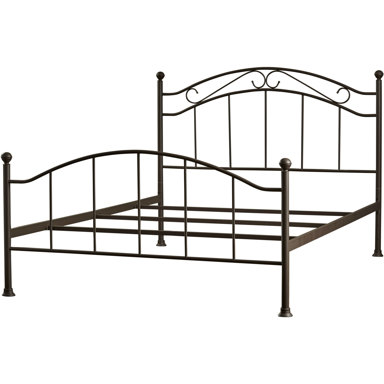 queen size scroll design metal bed frame with headboard and footboard in brown finish - Black Metal Bed Frame Queen