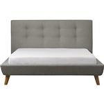 Queen Mid-Century Grey Upholstered Platform Bed with Button-Tufted Headboard