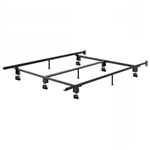 Queen size Heavy Duty Metal Bed Frame with Wheels and Headboard Brackets