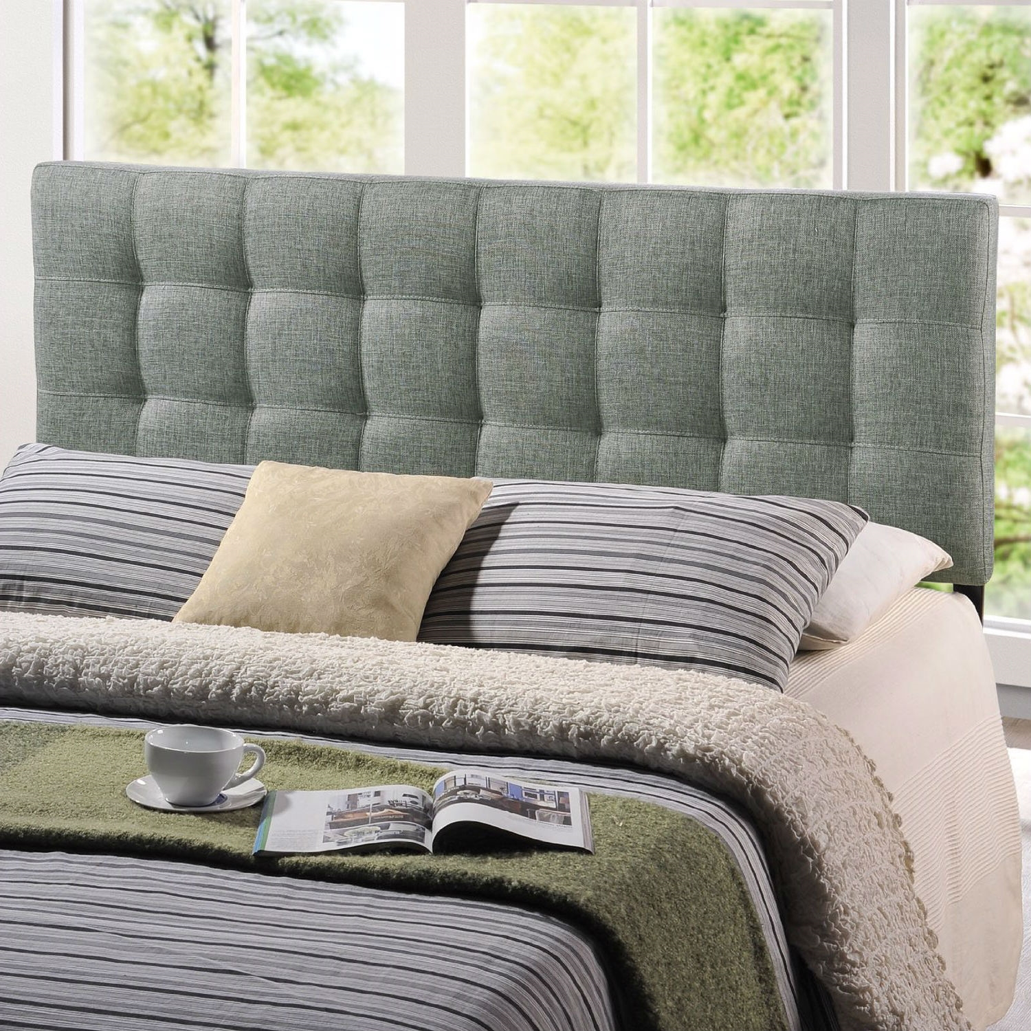 king size grey fabric upholstered headboard with modern tufting. Black Bedroom Furniture Sets. Home Design Ideas