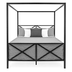 Queen size 4-Post Canopy Bed Frame in Black Metal Finish