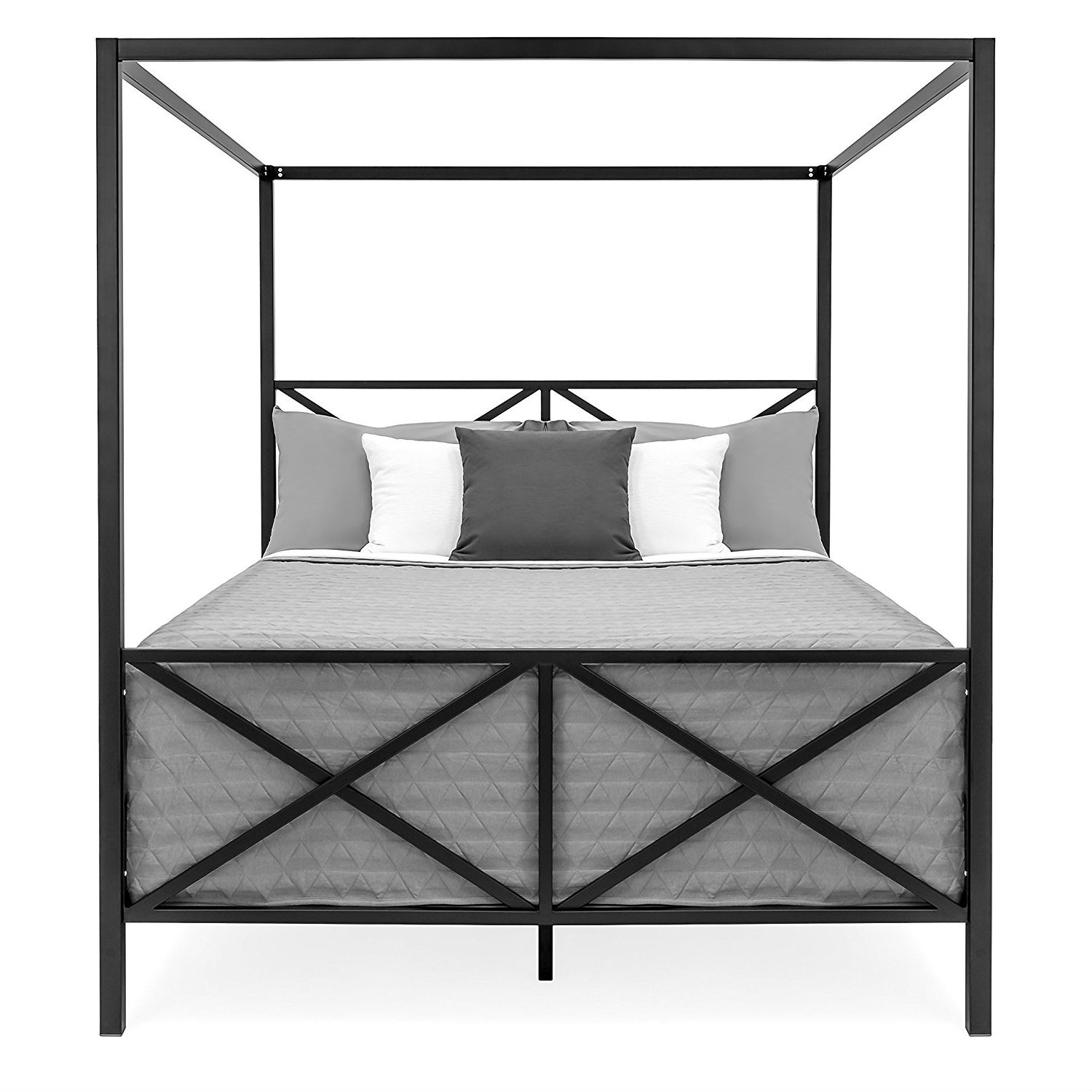 - Queen Size 4-Post Canopy Bed Frame In Black Metal Finish