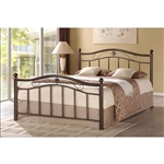 Queen Metal Platform Bed with Headboard and Foot-Board in Brushed Bronze