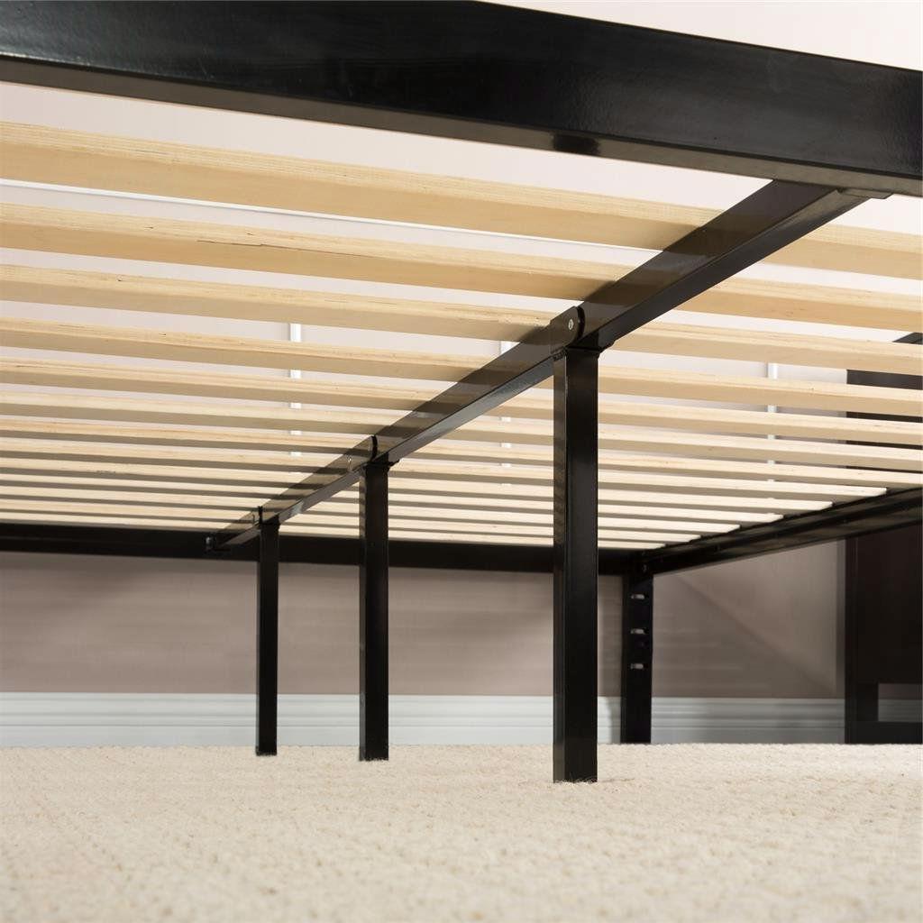 Queen size Black Metal Platform Bed Frame with Wood Slats   No Box