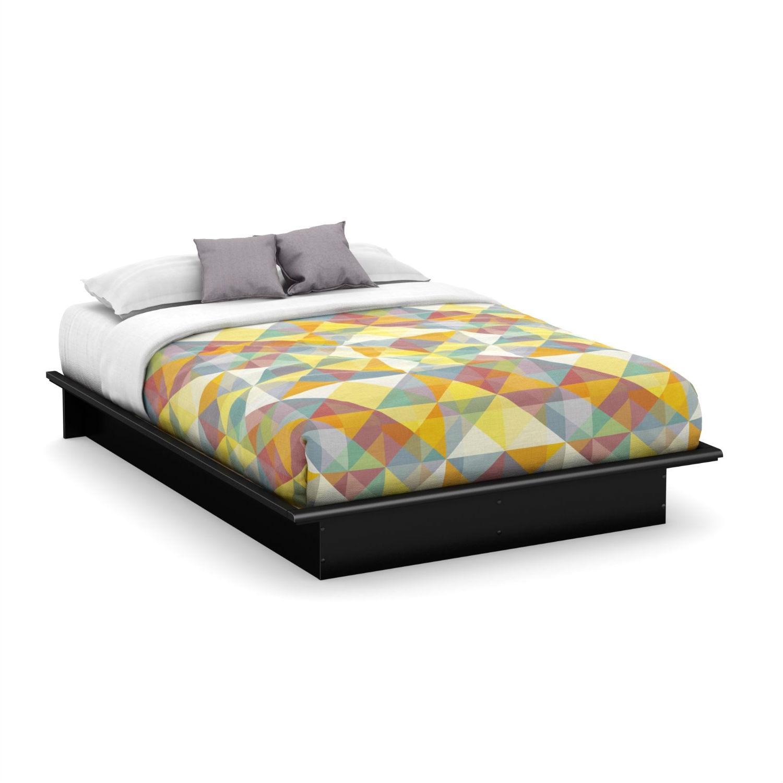 Queen Size Platform Bed Frame In Modern Black Wood Finish Fastfurnishings Com