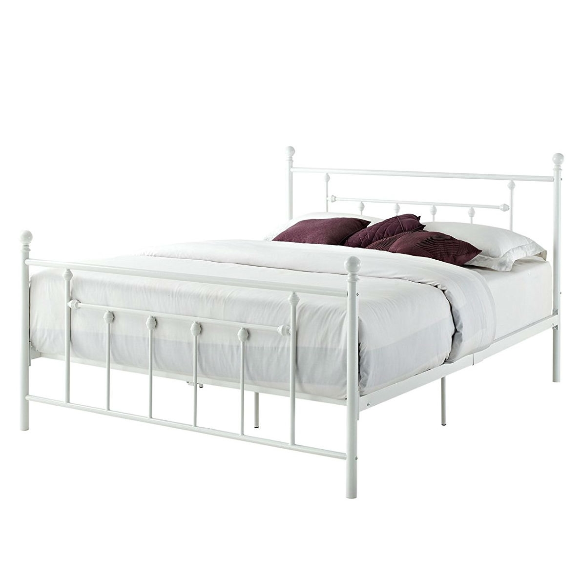Queen Size White Metal Platform Bed Frame With Headboard And Footboard Fastfurnishings Com