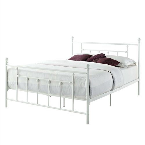 Queen size White Metal Platform Bed Frame with Headboard and Footboard