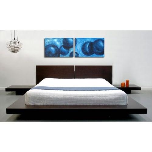 queen modern platform bed w headboard and 2 nightstands in espresso