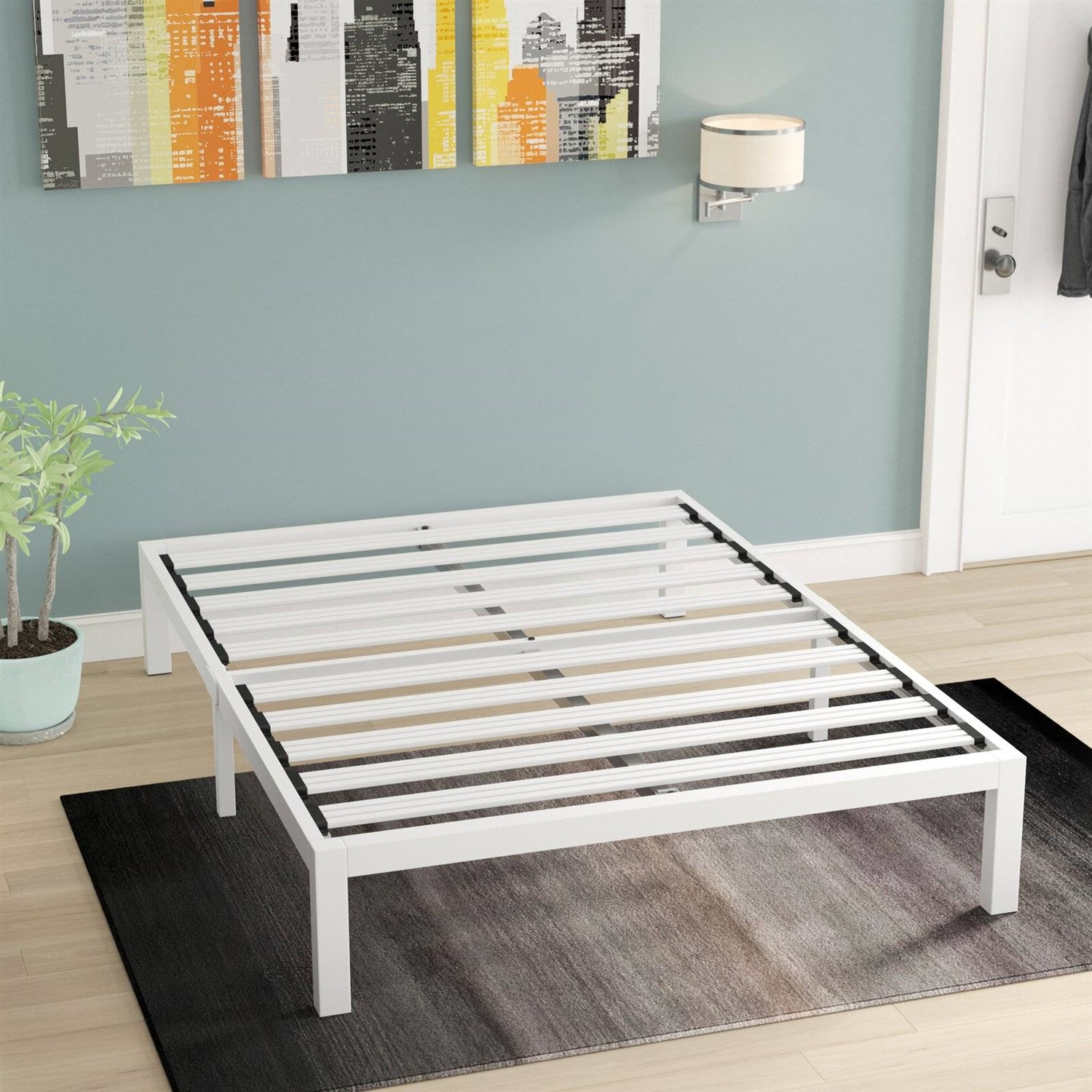 Picture of: Queen Size Heavy Duty Metal Platform Bed Frame In White Fastfurnishings Com