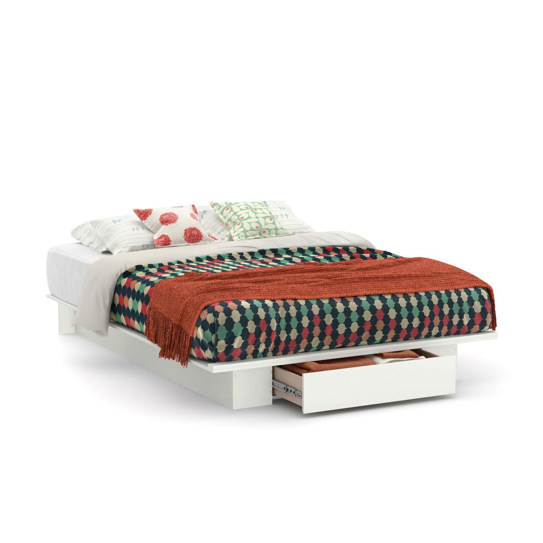 Queen Size White Modern Platform Bed
