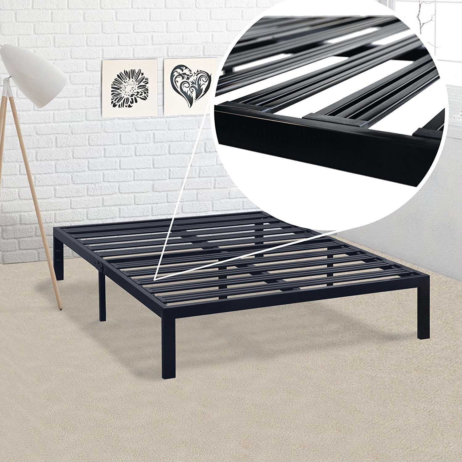 Queen size Metal Platform Bed Frame with Heavy Duty Steel Slats ...