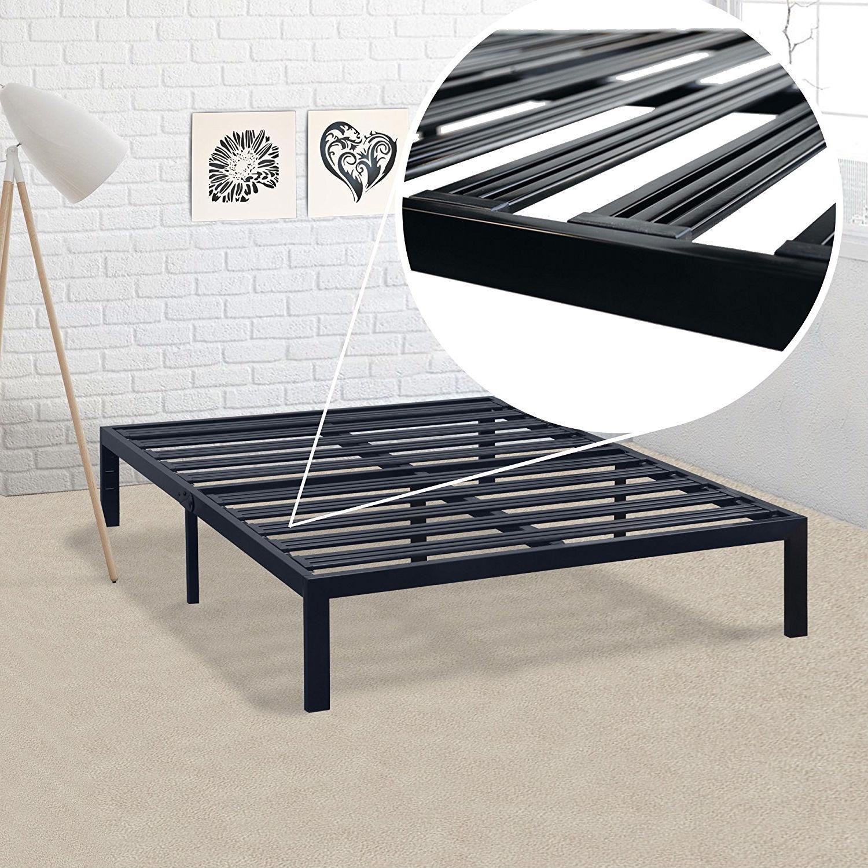 Queen Size Metal Platform Bed Frame With Heavy Duty Steel Slats Fastfurnishings Com