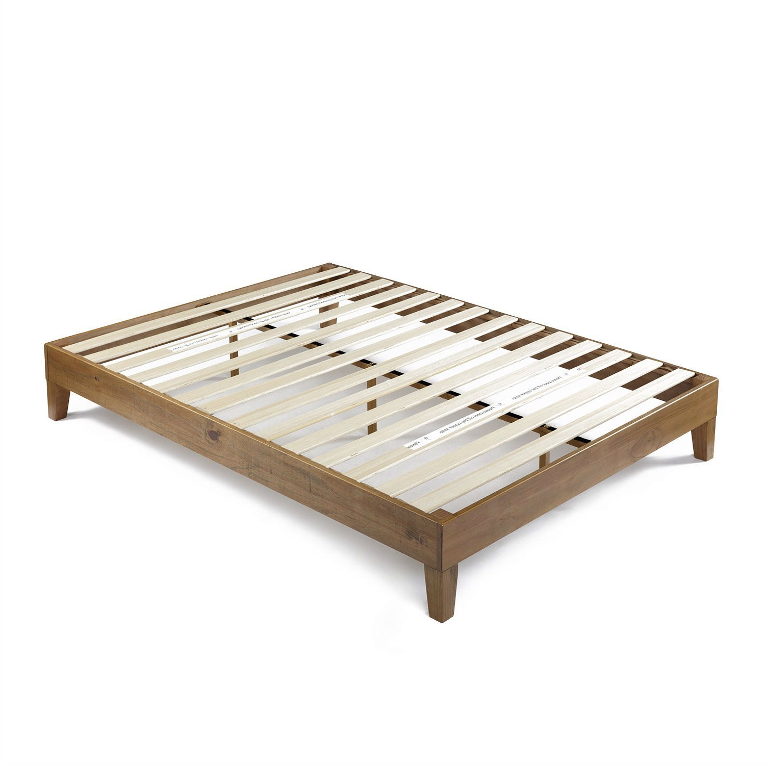 Queen Size Solid Wood Modern Platform Bed Frame In Rustic Pine Finish Fastfurnishings Com