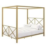 Queen size Modern Gold Metal Canopy Bed Frame with Headboard and Footboard