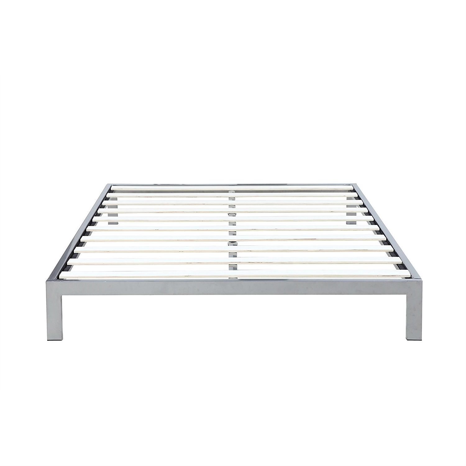 Queen size Silver Metal Platform Bed Frame with Wooden Slats