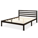 Queen size Wood Platform Bed Frame with Headboard in Espresso