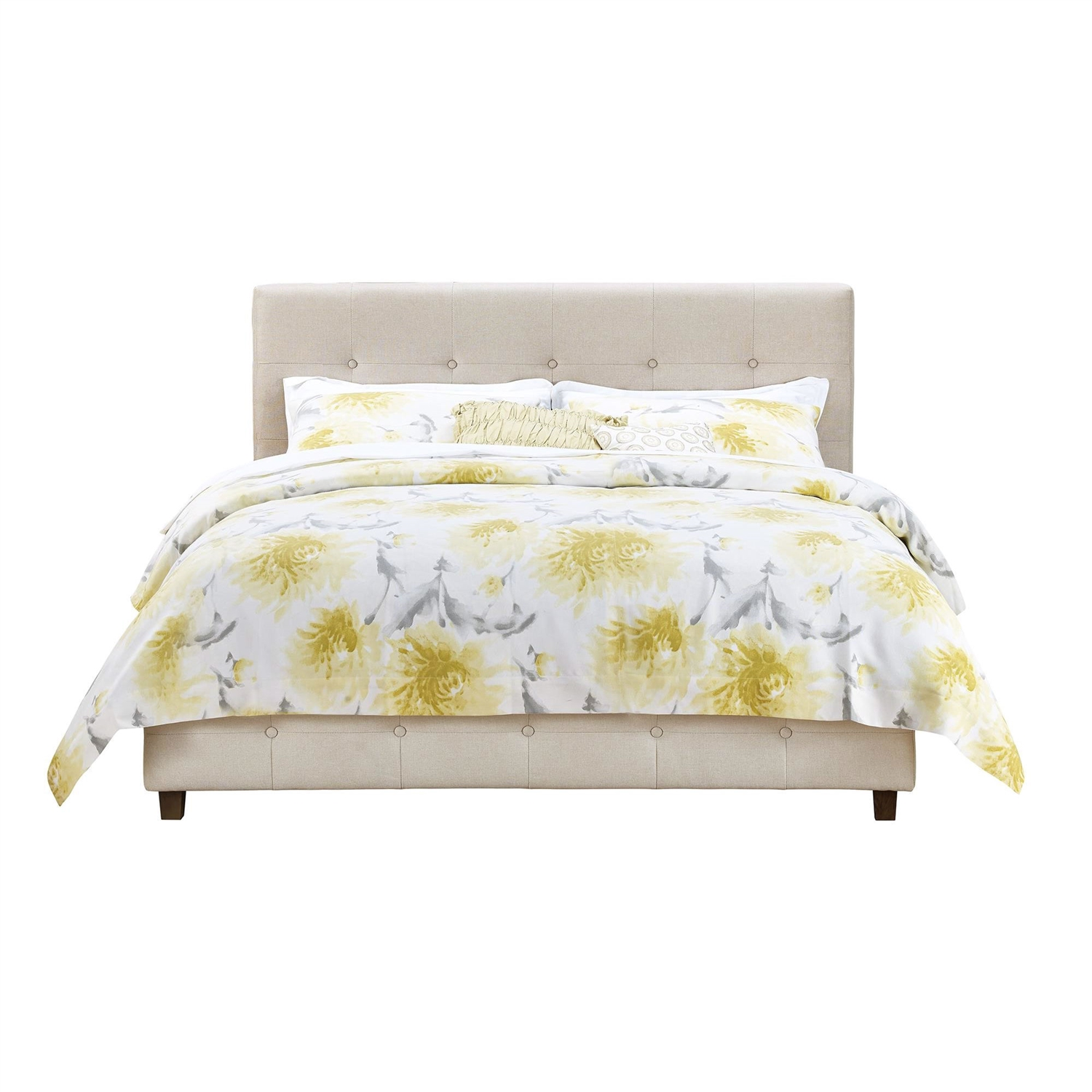 Queen Tan Linen Upholstered Platform Bed Frame With Button Tufted Headboard Fastfurnishings Com