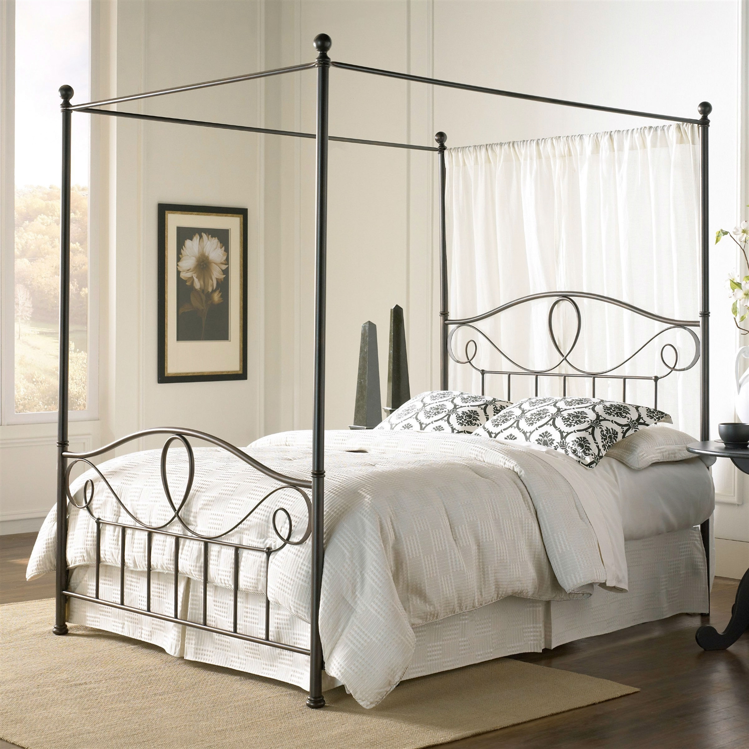 Queen Size Complete Metal Canopy Bed With Scroll Work And Ball Finials